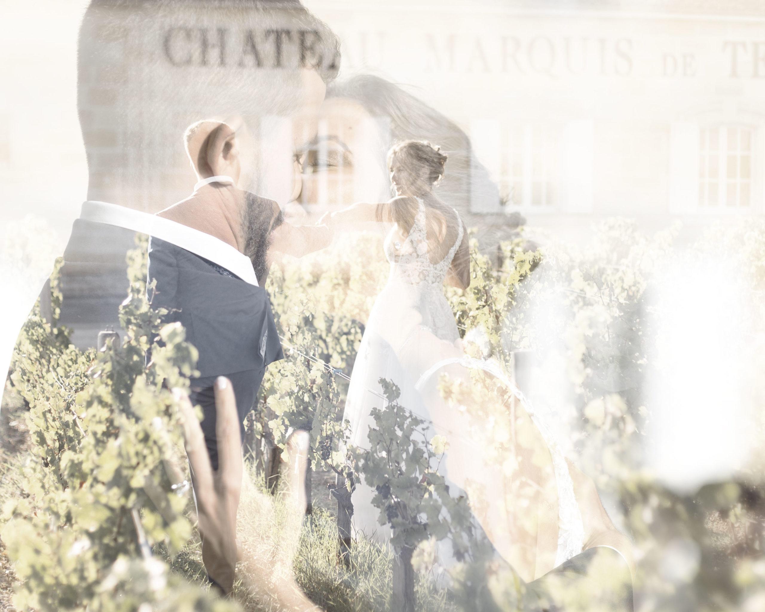photo de mariage paris bordeaux photographe portrait de couple double exposition